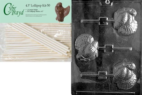 Cybrtrayd 45St50-T030 Turkey Lolly Thanksgiving Chocolate Candy Mold with 50-Pack 4.5-Inch Lollipop Sticks ()