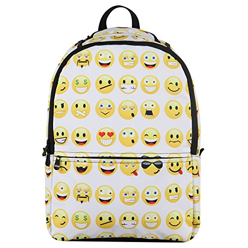 Hynes Eagle Printed Emoji Kids School Backpack (Emoji-White)