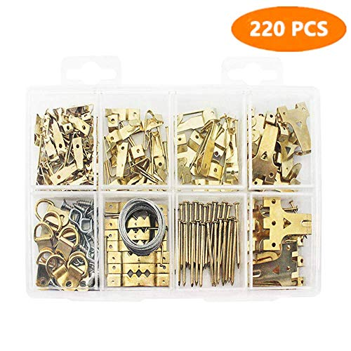 Heavy Duty Photo Frame Hooks, 220 Pieces Ultimate Picture Hanging Kit Picture Hanger Assortment Tool for Wall Mounting ()