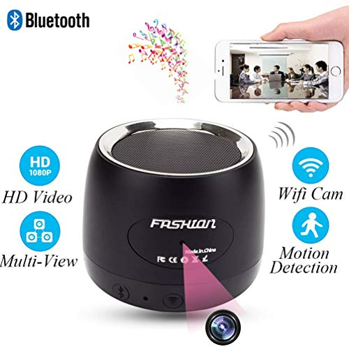 MINGYY HD 1080P Wifi Hidden Camera Bluetooth Speaker Camera Spy Detector Mini Video Recorder Wireless Music Player Cam IR Night Vision Nanny Cameras for Home Security Via Free APP Android/iPhone/PC