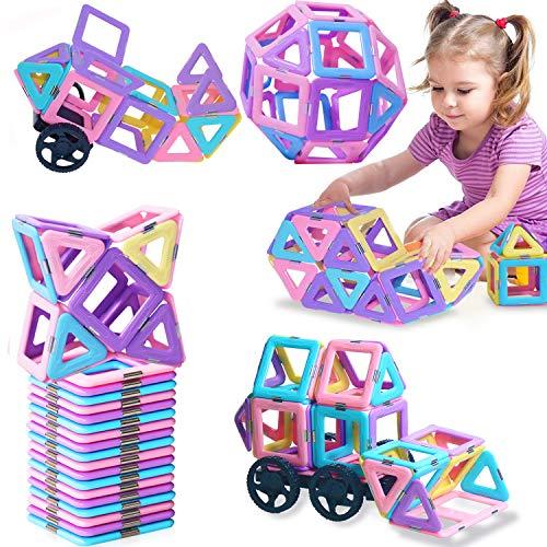 BOZTX Castle Magnetic Building Blocks Magnetic Tiles (49pcs) Educational Stem Toys for Kids Toddlers Creative Learning…