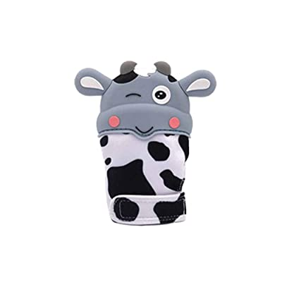 Sizet Baby Teething Mitten Gloves, Cute Cartoon Design Soft Silicone Baby Boys Girls Teether Toy for 3-6 Months: Clothing [5Bkhe0805680]