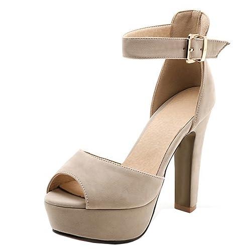 RizaBina Mujer Elegante Peep Toe Sandalias Tacon Ancho Tacon Alto Plataforma  Al Tobillo Fiesta Zapatos ( a3dcd5542e31