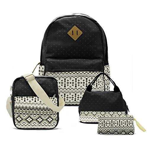 Teenager Teen Girl Canvas School Backpack Lunch Pencil Shoulder Bookbag Set of 4 (Backpack Gift Set)