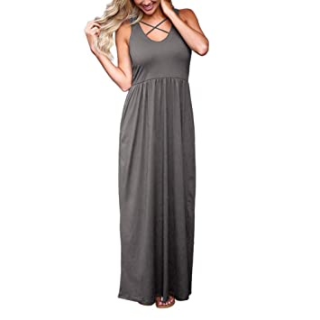 Women Summer Maxi Dress Sleeveless Backless Beach Dress Plus ...