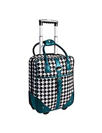 ELLE Carry on Rolling Briefcase with Computer Padded Sleeve, Teal, Under Seat