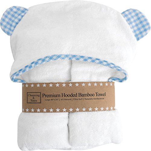 Premium Hooded Baby Boy Towel and Washcloth Set - Blue & White | Hooded Towel for Kids, Babies, Toddlers | Organic Bamboo Baby Towels with Hood | 2 Times as Thick & Soft