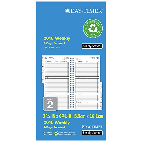 "Day-Timer Refill 2018, Two Page Per Week, January 2018 - December 2018, 3-1/2"" x 6-1/2"", Wirebound, Pocket Size, Simply Stated (12068-1801)"