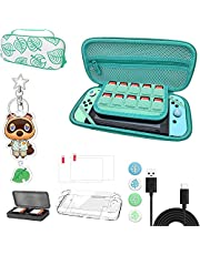 Carrying Case for Nintendo Switch - iofeiwak Hard Shell Storage Bag for Animal Crossing NS Console and Accessories - Handle Design & Coms with Accessories - [2021 All in One Bundle] [Ideal Gift]