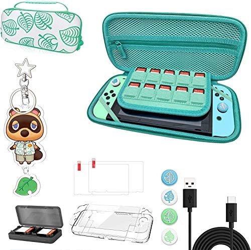 Carrying Case for Nintendo Switch - ZBRO Hard Shell Storage Bag for Animal Crossing NS Console and Accessories - Handle Design & Coms with Accessories - [2021 All in One Kit]