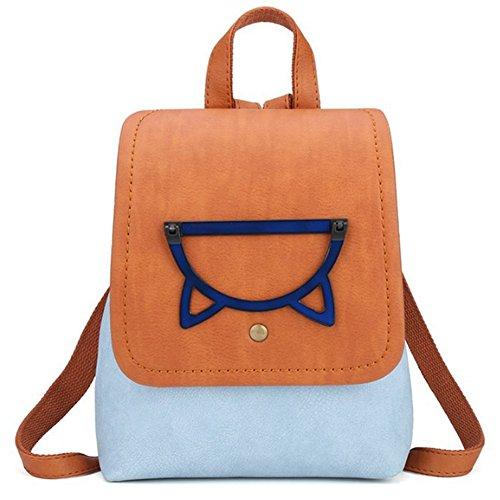 Uniuooi Bolso mochila de Piel Sintética para mujer M Brown & Blue
