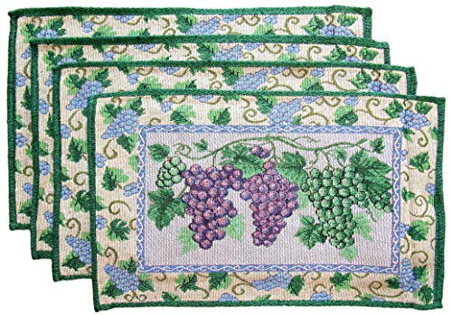 (Wine Cheese, and Grapes Place Mats - Set of 4 (Purple and Green Grapes with Blue Flower)