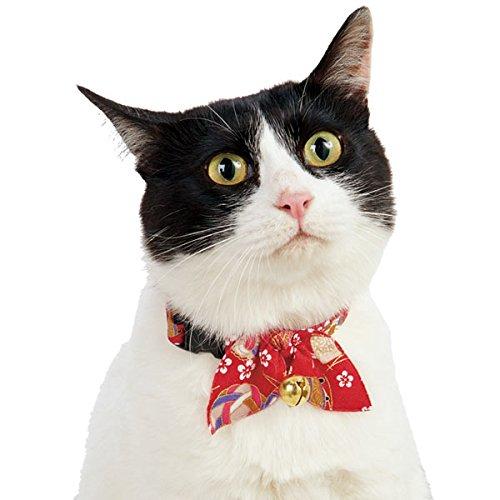 Necoichi Kimono Ribbon Cat Collar (Red) (Kimono Wear Japanese)