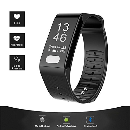 "Fitness Tracker, Smart ECG Heart Rate Blood Pressure Monitor, IP66 Waterproof Smart Wristband Large Screen(0.96"")with Sleep Monitor,Sport Step Bracelet, Stay Healthy for Android 4.4 or IOS8.0(Black)"