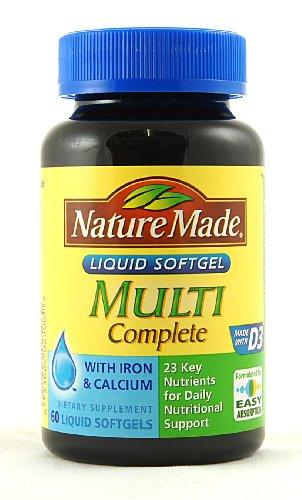 Nature Made Multi-complet avec D3, Fer et Calcium, gélules liquides, 60-Comte
