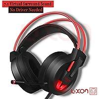 [Patrocinado] USB Over Ear Auriculares, ligero self-adjust sonido envolvente 7.1Gaming Headset estéreo con micrófono Luz LED para PC MAC Computadora de computadora (Negro + Rojo)