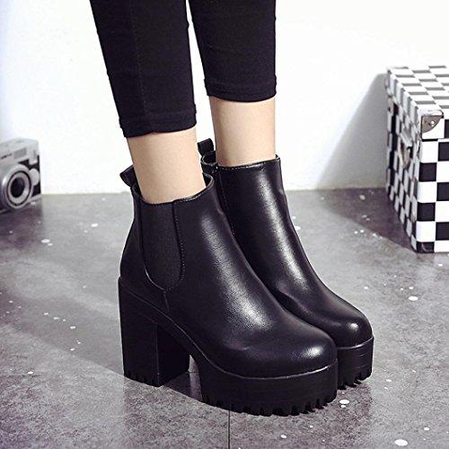 Transer® Damen Keilabsatz Stiefel & Stiefeletten Kunstleder+Plastik (Bitte achten Sie auf die Größentabelle. Bitte eine Nummer größer bestellen. Vielen Dank!) Schwarz