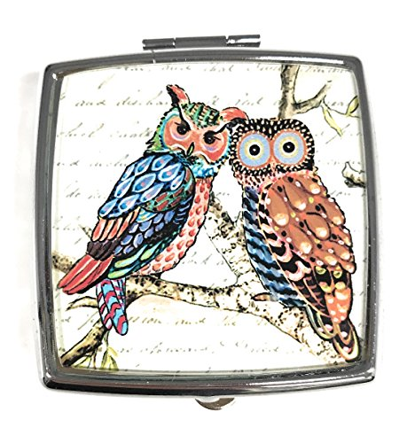 Value Arts Funky Owls with Script Box, 2 Compartments, 2 Inches Square