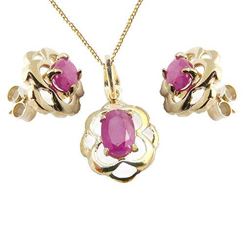 Jewellery World Bague en or jaune 9carats Rubis Véritable celtique ovale Coffret cadeau pendentif, boucles d'oreilles, 9ct Chaîne-40e anniversaire de mariage