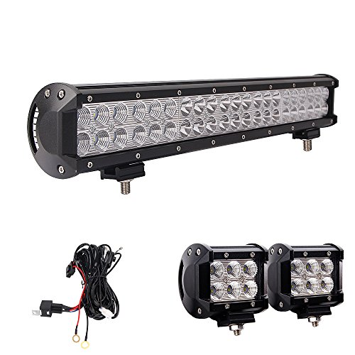 LED Light Bar, Northpole Light 20 Inch 126W Waterproof CREE Spot Flood Combo LED Light Bar with 2PCS 18W CREE Flood LED Work Lights and 12V 40A Wiring Harness for Off Road,Jeep, Truck, Car, ATV, SUV