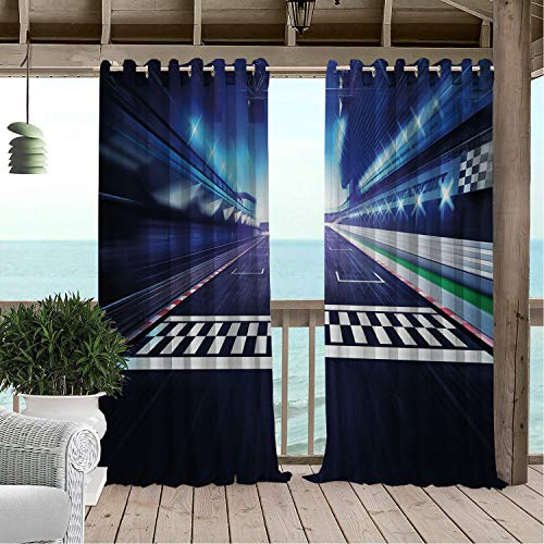 Patio Waterproof Curtain Man Cave Finish Line on Racetrack Motion Blur Motorsports Competition Stadium Image Multicolor pergola Grommet Panel Curtains 120 by 72 ()