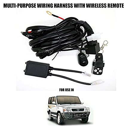 volga multi purpose wiring harness with wireless remote control switch &  relay 12v 60a for tata sumo victa: amazon in: car & motorbike