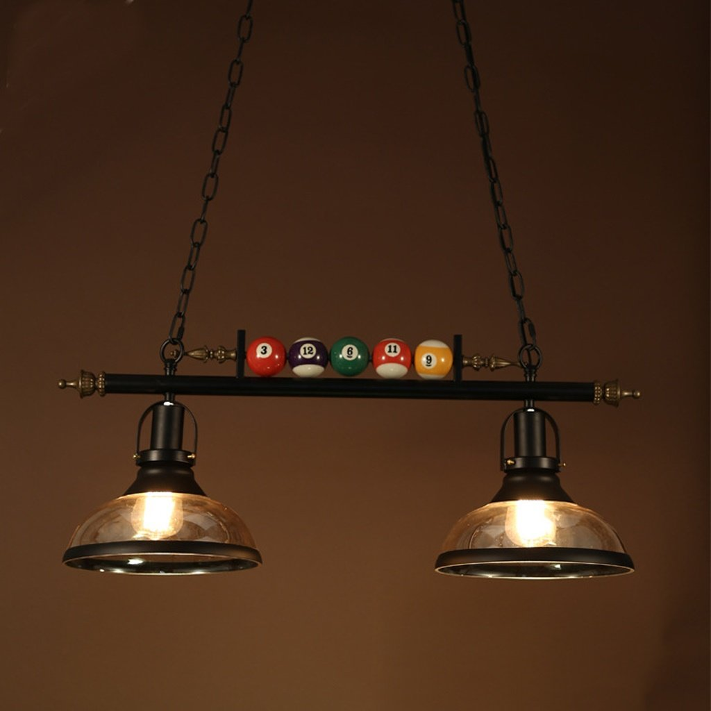Poste moderna lámpara de billar de cristal de hierro forjado candelabro de billar de hierro forjado dormitorio café restaurante iluminación ( Tamaño : 77*30cm ) DENG