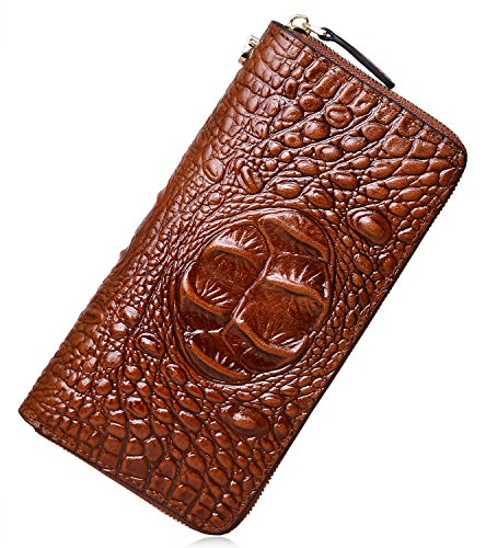 PIJUSHI Women's Embossed Crocodile Genuine Leather Wallet Clutch Purse 1058 (New Coffee Croco) by PIJUSHI