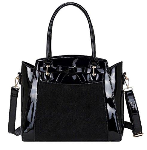 Handbags Para Sintético Material De Negro Asas Girly Bolso Gris Mujer 1wP6wa