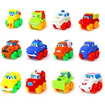 Big Mo's Toys Baby Cars - Soft Rubber Toy Vehicles for Babies and Toddlers - 12 Pieces