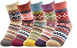 Women's Vintage Winter Soft Wool Funny Socks Casual Thick Knit Crew Cozy Socks 5 Pack 5 Pack Vintage Diamond Socks