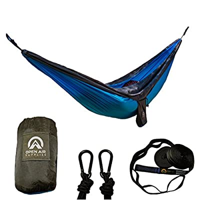 Double Camping Hammock Set With Strong Nylon Tree Straps and Carabiners - 5 minute setup - Open Air Supplies