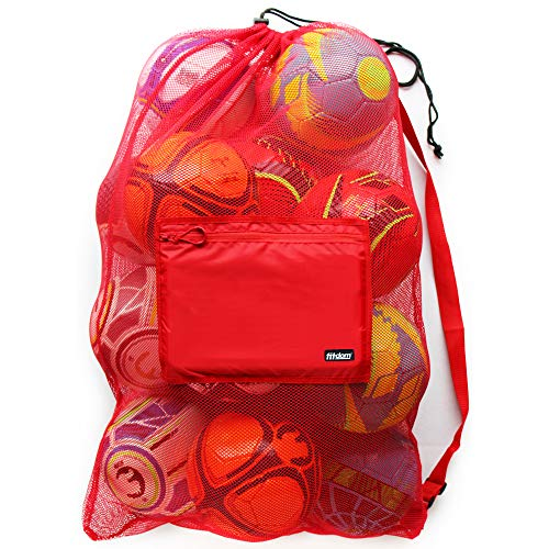 Extra Large Heavy Duty Mesh Bag for Soccer Ball, Water Sports, Beach Cloth, Swimming Gears. Adjustable Shoulder Strap Made to Fit Adults and Kids. Secure Side Pocket for Your Personal Item (Red) ()