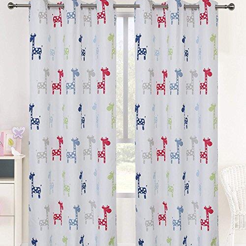 Sherwood GIRAFFE Eyelet Curtain Blackout Grommet Coated Window Panel Drapes for Kids Girl Boy Bedroom, One Panel, 70