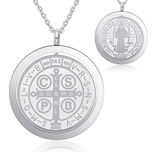 I's Solid Stainless Steel Saint Benedict Medal Protection Charm Pendant Necklace