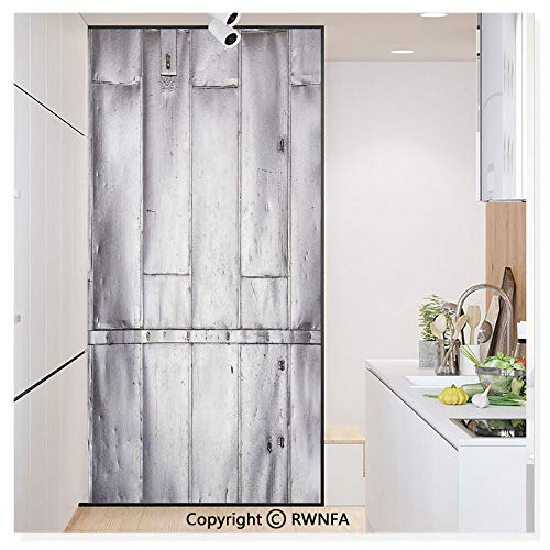 RWN Film Window Films Privacy Glass Sticker Steel Panels Industrial Wall Theme Aluminum Background Futuristic Engineering Print Static Decorative Heat Control Anti UV 30In by 59.8In,Silver