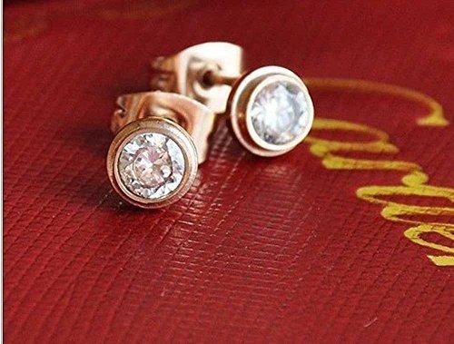 Findout 14K plaqué or rose en titane acier simple collier pendentif diamant + boucles d'oreilles, pour les femmes les filles, (f1327)
