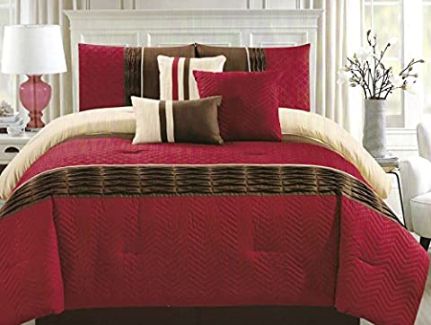 LA Rug Linens Burgundy Red Wine Off White Brown Color Queen Size Zig-Zag Pattern 7 Pieces Comforter Set with Bed Skirt Pillow Shams Decorative Pillows