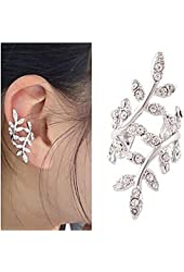 CHOP MALL® Fashion (Tree) Alloy Ear Cuff Silver Color (1 Pc) + Free Unique Ring and rubber wrist band