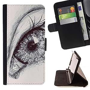 - Queen Pattern FOR LG Nexus 5 D820 D821 /La identificaci????n del cr????dito ranuras para tarjetas tir????n de la caja Cartera de cuero cubie - eye drawing pencil art deep pupil