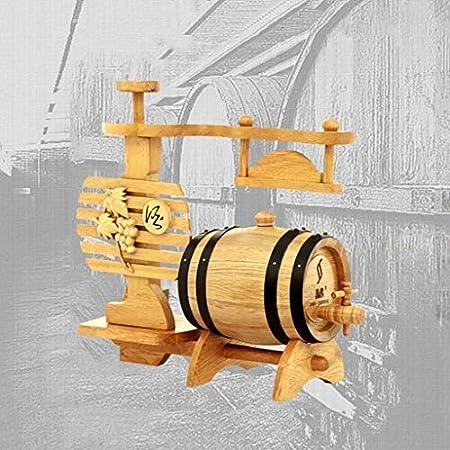 SS mutong Barril de Roble Barril De Vino De Madera Maciza De 1,5 L, Adornos De Joyería De Barril De Vino con Forma De Estante De UVA Vino, Cerveza, Sidra, Whisky.