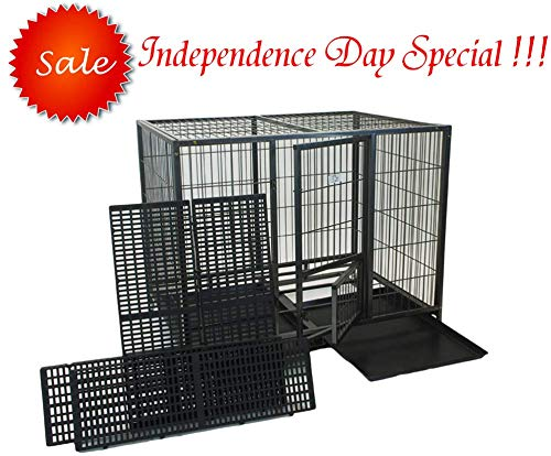 (Homey Pet-49 Extra Large Heavy Duty Metal Dog Cage w/Plastic Floor Grid, Casters, Pull Out Tray and Feeding Door: L 49