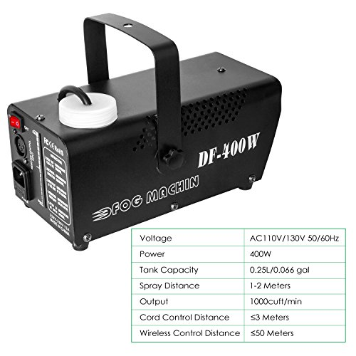 Fog Machine, Miric Smoke Machine Portable with LED Lights Equipped with Wired and Wireless Remote Control for Party, Christmas, Halloween and Weddings (400W) by Miric (Image #4)