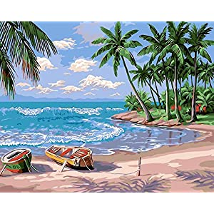ifymei Paint By Number Kits Paintworks DIY Oil Painting for Kids and Adults (Sunny beach harbor)…