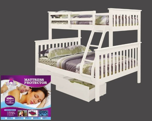 Price comparison product image Bunk Bed Twin over Full Mission Style in White with Drawers and Waterproof Twin Mattress Protector by Bella Sleep - Bundle