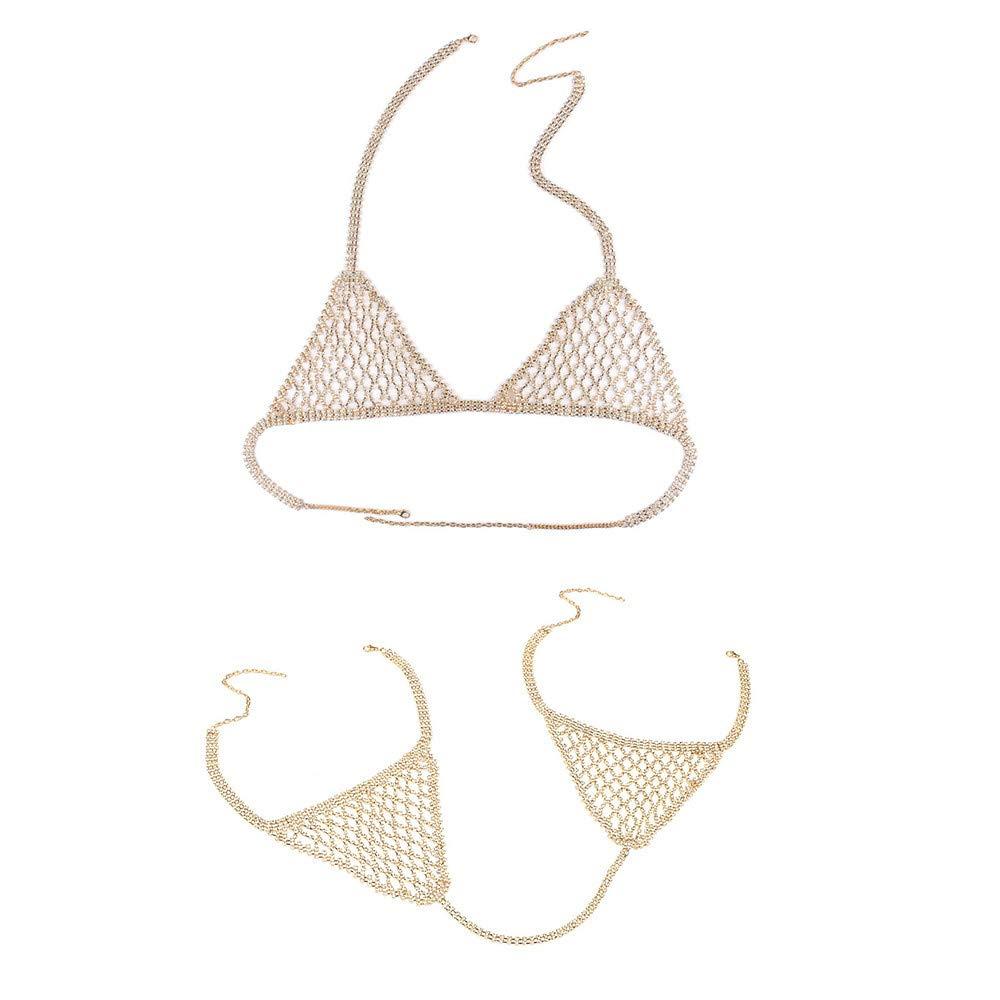 Sunnywill Women Nightclub Party Body Chain Jewelry Bikini Gold Belly Beach Waist Charm Layered Crystal