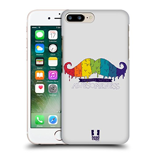 Head Case Designs Arcobaleno Che Cola Baffi Arcobaleno Cover Retro Rigida per Apple iPhone 7 Plus / 8 Plus