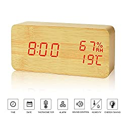 Alarm Clock---FiBiSonic Wood Red Digital Clock Home Clock Slient Desk Clock Modern Style Displays Time Date Hygrometer And Temperature