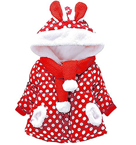 Baby Girls Winter Coats Dot Print Hooded Sweetheart Outerwear 0-3T (9-18 Months, Red) (13 Nights Of Halloween Movie List)