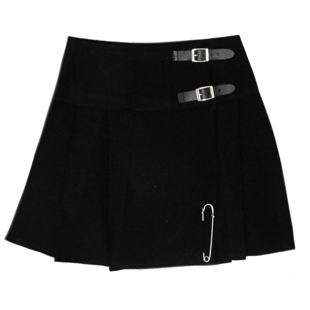 Mini kilt/jupe pour femme - épingle incluse - noir - 42 cm (longueur) Tartanista KA-SKIRT_16.5_BLACK